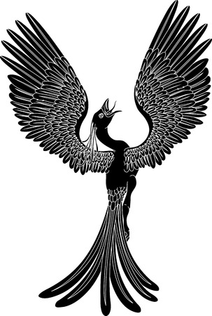 A black and white phoenix in a pose with its wings outstretched and spread widely.