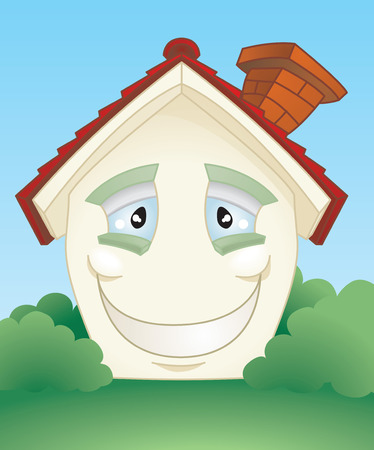 lovable: A cute smiling happy cartoon house character.