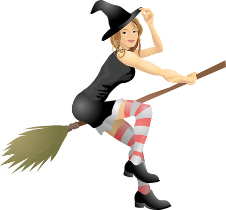 An isolated young beautiful witch flying on her broomstick