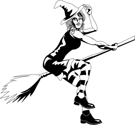broomstick: An isolated young beautiful witch flying on her broomstick