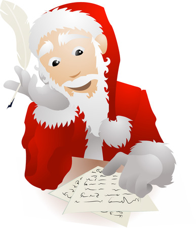 replying: An illustration of Father Christmas or Santa Claus checking his Christmas list or replying to children's letters