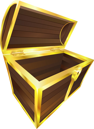 wooden box: An illustration of an empty wooden treasure or pirate chest Illustration