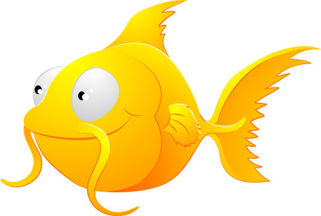 gold fish bowl:  A clipart illustration of a cute lovable goldfish type fish