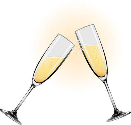 Illustration of champagne glasses knocking together during a toast