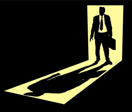 Illustration of businessman with briefcase standing in doorway  Vector