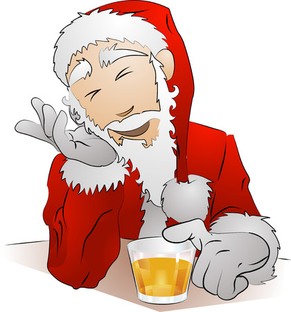 An Illustration of drunk Santa Claus sitting with his glass of drink Stock Vector - 3493499