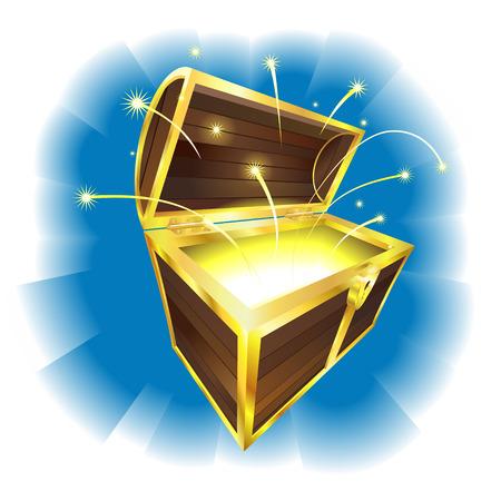 cofre del tesoro: Ilustraci�n de cofre del tesoro con la magia chispas de vuelo  Vectores