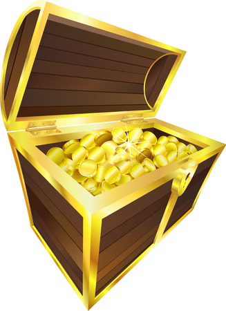 Illustration of treasure chest containing gold coinsr
