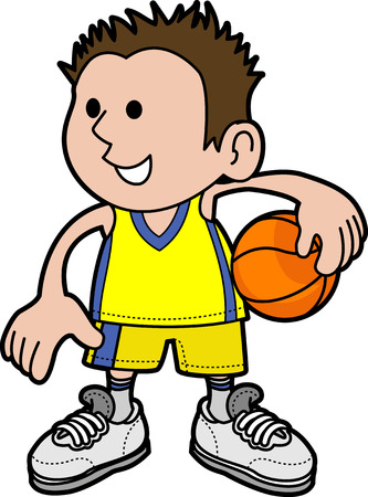 Illustration of young boy holding basketball wearing sports uniformr