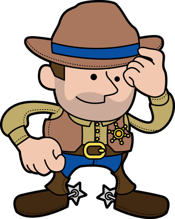 Illustration of male cowboy sheriff in ranger outfit and hatr Vector