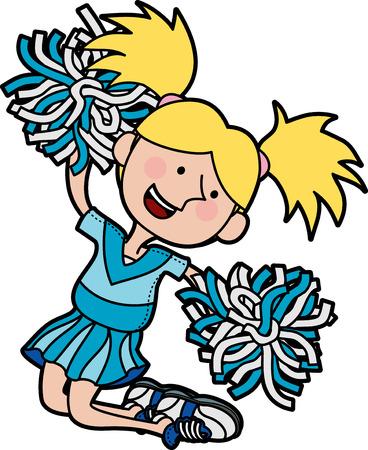 Ilustración de las niñas porristas saltando en el aire  Foto de archivo - 3622704