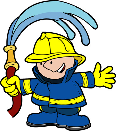 Illustration of fireman holding water hoser
