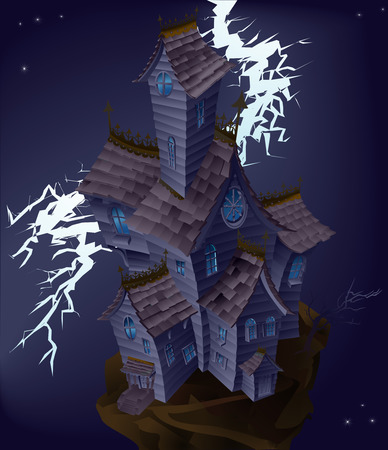 Illustration of haunted house with lightning striking  Vector