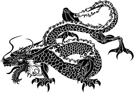 japanese dragon: Illustration of black Japanese dragon on white background