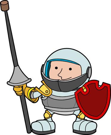 chevalerie: Illustration d'un jeune chevalier avec armure et bouclier  Illustration