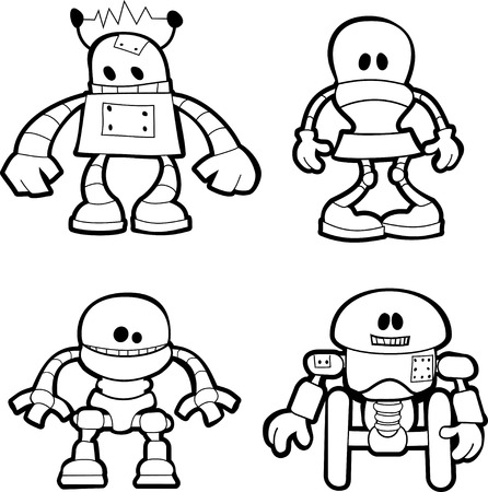 robot vector: Black and white illustration of little robotsr