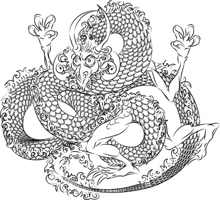 japanese dragon: Illustration of black Japanese dragon on white r