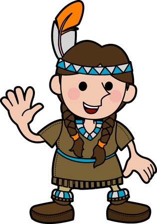 headpiece: Illustration of young girl in Native American costume and braids wavingr