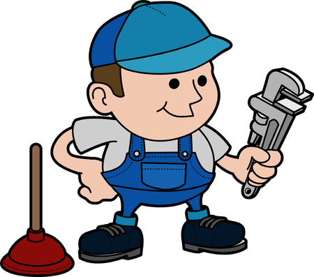 plumbers: Illustration of male plumber with wrench and plungerr