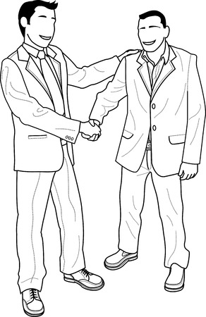 Illustration of faceless businessmen shaking hands and greetingr Vector