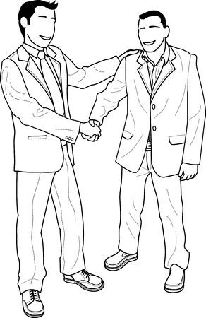 dandose la mano: Ilustraci�n de los empresarios sin rostro agitando las manos y saludo