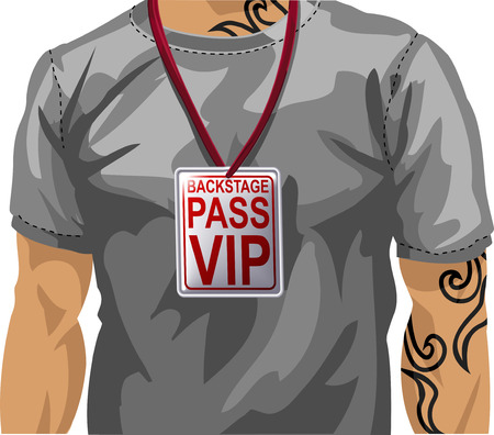 vip badge: Illustration of man wearing backstage VIP pass around neckr