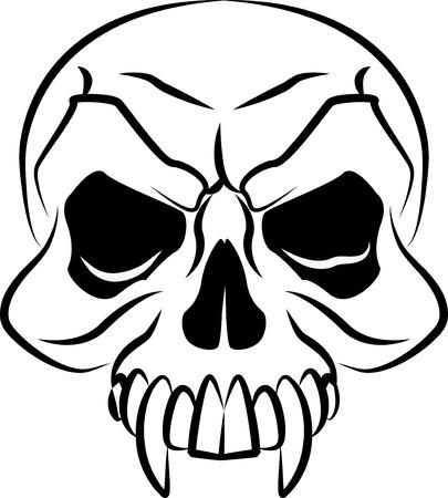 animal skull: Black and white illustration of scary skull head r