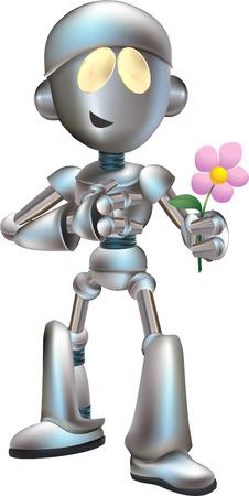 struck: Illustration of love struck futuristic robot holding flower outr