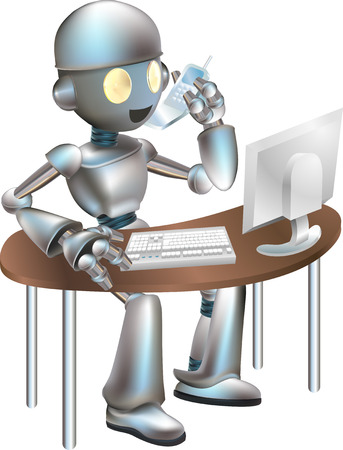 robot vector: Illustration of futuristic robot sitting at desk on the phone and looking at computer