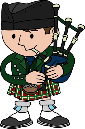 Illustration of male Scottish bagpiper playing bagpipes