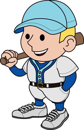blonde hair cartoon: Illustration of male baseball player holding bat