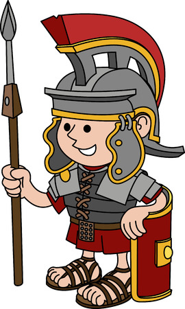 roman soldier: Illustration of Roman soldier holding sword and shield