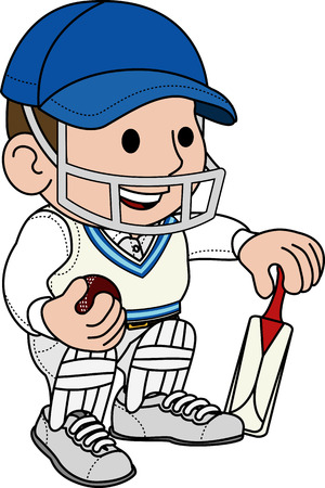 crickets: Illustration of male cricketball player in cricket uniform
