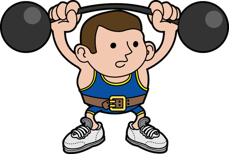 lifting: Illustration of male weightlifter lifting barbells