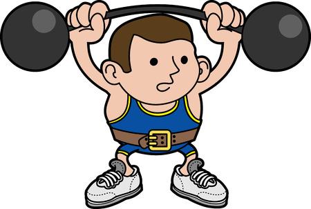hombre levantando pesas: Ilustraci�n de los hombres weightlifter levantamiento Gordas Vectores