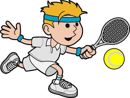 hitting: Illustrazione di maschi tennista colpendo palla con racchetta da tennis Vettoriali