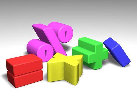 simbolos matematicos: Ilustraci�n de s�mbolos coloridos matem�ticas