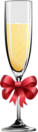 champagne flute: Illustration of champagne glass with red ribbon