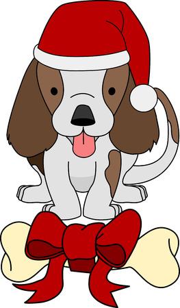 dog treat: Illustration of gift bone and dog at Christmas