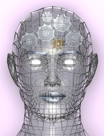 human likeness: Illustration of cogs or gears in human head, representing cognitive working of human head, the inner workings of the brain etc.
