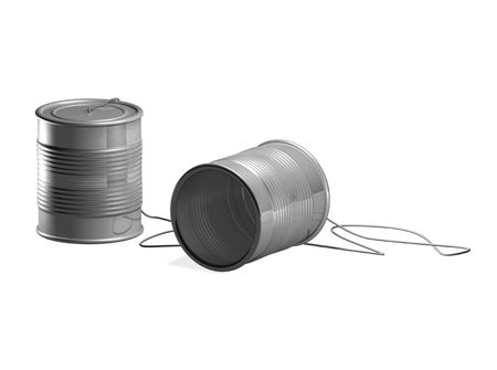 string together: tin can phone toy. Two tin cans connected by string so two people can communicate through them  Stock Photo