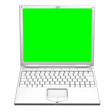 An illustration of an open laptop computer. The screen is a uniform green to make it easier to mask out and replace with your own image. 3D object created especially for this series of illustrations by the artist. Stock Illustration - 4325327