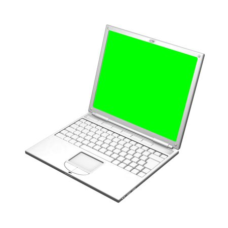 An illustration of an open laptop computer. The screen is a uniform green to make it easier to mask out and replace with your own image. 3D object created especially for this series of illustrations by the artist. illustration