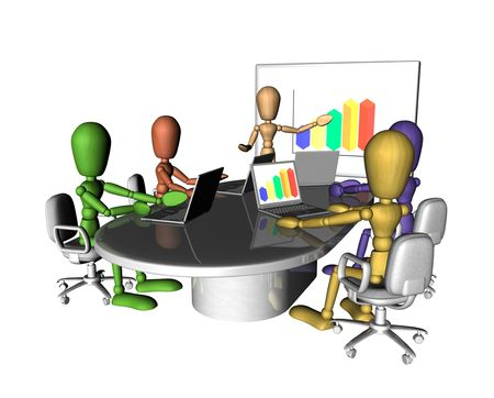 especially: A group of multicoloured figures at a business meeting. One is presenting at the front of the room.3D objects created especially for this series of illustrations by the artist.