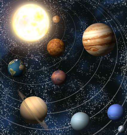 orbit: An illustration of our solar system. Maps from http:planetpixelemporium.com