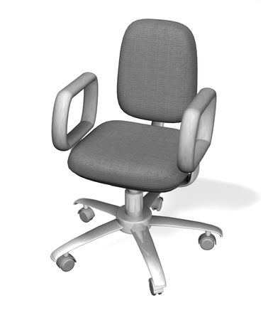 especially: A stylised white 3D office chair. 3D object created especially for this series of illustrations by the artist.