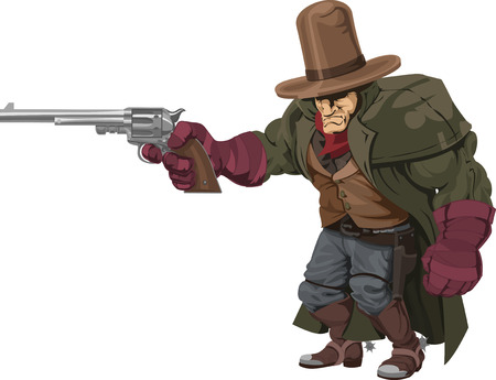 shootout: Illustration of cool mean looking cowboy gunman with pistol