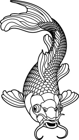 hokusai: A beautiful koi carp fish illustration in monochrome. Symbol of love, friendship and prosperity