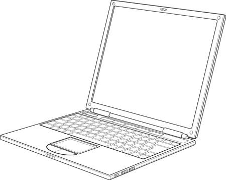 Laptop outline vector illustration  Vector