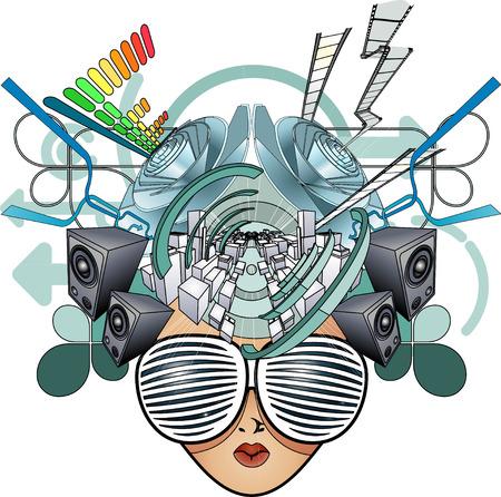 A media head abstract illustration Stock Vector - 4432159